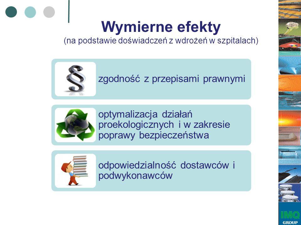 GROUP Wymierne efekty (na podstawie doświadczeń z wdrożeń w szpitalach) zgodność z przepisami prawnymi optymalizacja działań proekologicznych i w zakresie poprawy bezpieczeństwa odpowiedzialność dostawców i podwykonawców
