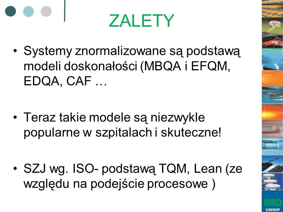 GROUP ZALETY Systemy znormalizowane są podstawą modeli doskonałości (MBQA i EFQM, EDQA, CAF … Teraz takie modele są niezwykle popularne w szpitalach i skuteczne.