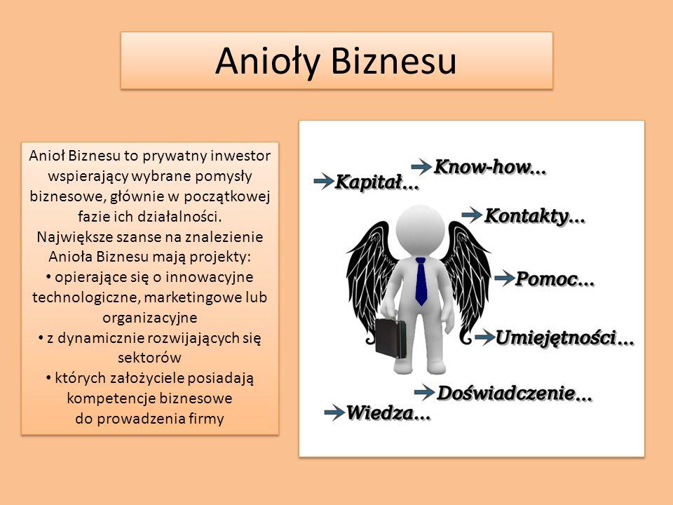 Anioły Biznesu Anioł Biznesu to prywatny inwestor wspierający wybrane pomysły biznesowe, głównie w początkowej fazie ich działalności.