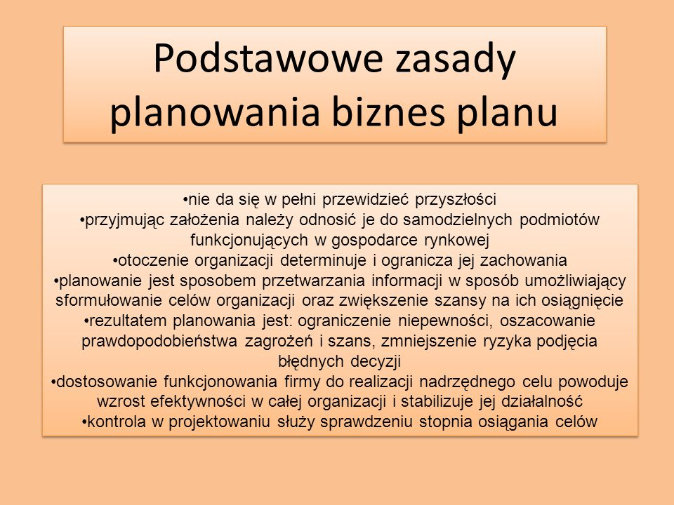 Podstawowe zasady planowania biznes planu nie da się w pełni przewidzieć przyszłości przyjmując założenia należy odnosić je do samodzielnych podmiotów funkcjonujących w gospodarce rynkowej otoczenie organizacji determinuje i ogranicza jej zachowania planowanie jest sposobem przetwarzania informacji w sposób umożliwiający sformułowanie celów organizacji oraz zwiększenie szansy na ich osiągnięcie rezultatem planowania jest: ograniczenie niepewności, oszacowanie prawdopodobieństwa zagrożeń i szans, zmniejszenie ryzyka podjęcia błędnych decyzji dostosowanie funkcjonowania firmy do realizacji nadrzędnego celu powoduje wzrost efektywności w całej organizacji i stabilizuje jej działalność kontrola w projektowaniu służy sprawdzeniu stopnia osiągania celów nie da się w pełni przewidzieć przyszłości przyjmując założenia należy odnosić je do samodzielnych podmiotów funkcjonujących w gospodarce rynkowej otoczenie organizacji determinuje i ogranicza jej zachowania planowanie jest sposobem przetwarzania informacji w sposób umożliwiający sformułowanie celów organizacji oraz zwiększenie szansy na ich osiągnięcie rezultatem planowania jest: ograniczenie niepewności, oszacowanie prawdopodobieństwa zagrożeń i szans, zmniejszenie ryzyka podjęcia błędnych decyzji dostosowanie funkcjonowania firmy do realizacji nadrzędnego celu powoduje wzrost efektywności w całej organizacji i stabilizuje jej działalność kontrola w projektowaniu służy sprawdzeniu stopnia osiągania celów
