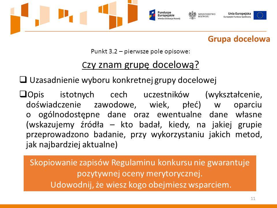 Punkt 3.2 – pierwsze pole opisowe: C zy znam grupę docelową.