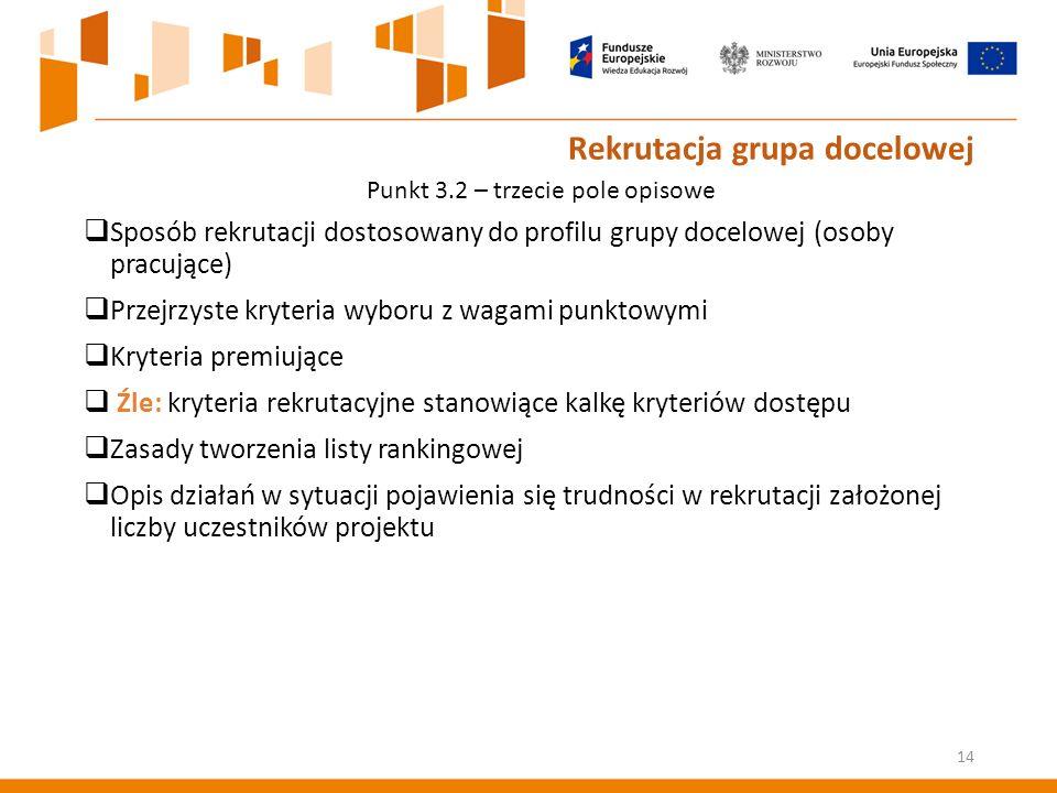Rekrutacja grupa docelowej  Sposób rekrutacji dostosowany do profilu grupy docelowej (osoby pracujące)  Przejrzyste kryteria wyboru z wagami punktowymi  Kryteria premiujące  Źle: kryteria rekrutacyjne stanowiące kalkę kryteriów dostępu  Zasady tworzenia listy rankingowej  Opis działań w sytuacji pojawienia się trudności w rekrutacji założonej liczby uczestników projektu 14 Punkt 3.2 – trzecie pole opisowe