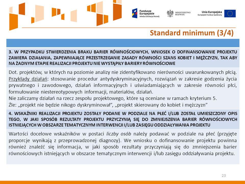 23 Standard minimum (3/4) 3.
