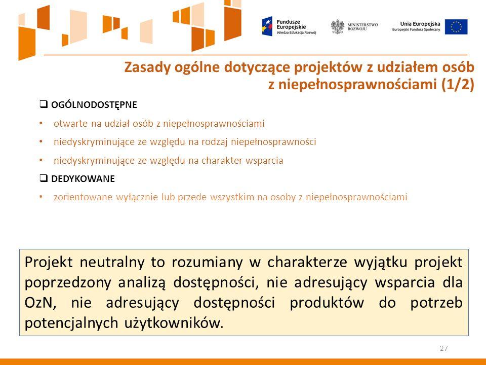  OGÓLNODOSTĘPNE otwarte na udział osób z niepełnosprawnościami niedyskryminujące ze względu na rodzaj niepełnosprawności niedyskryminujące ze względu na charakter wsparcia  DEDYKOWANE zorientowane wyłącznie lub przede wszystkim na osoby z niepełnosprawnościami 27 Zasady ogólne dotyczące projektów z udziałem osób z niepełnosprawnościami (1/2) Projekt neutralny to rozumiany w charakterze wyjątku projekt poprzedzony analizą dostępności, nie adresujący wsparcia dla OzN, nie adresujący dostępności produktów do potrzeb potencjalnych użytkowników.
