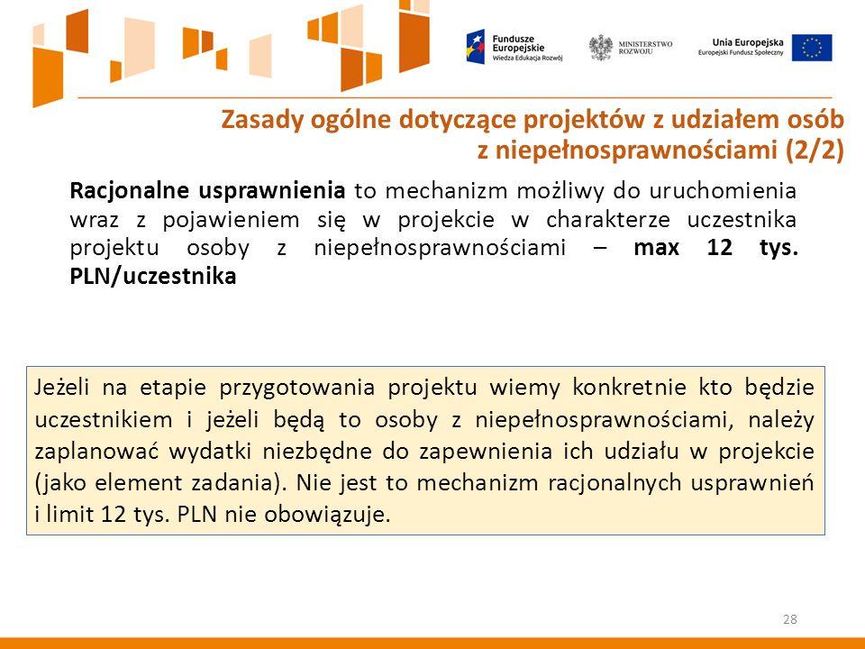 Racjonalne usprawnienia to mechanizm możliwy do uruchomienia wraz z pojawieniem się w projekcie w charakterze uczestnika projektu osoby z niepełnosprawnościami – max 12 tys.