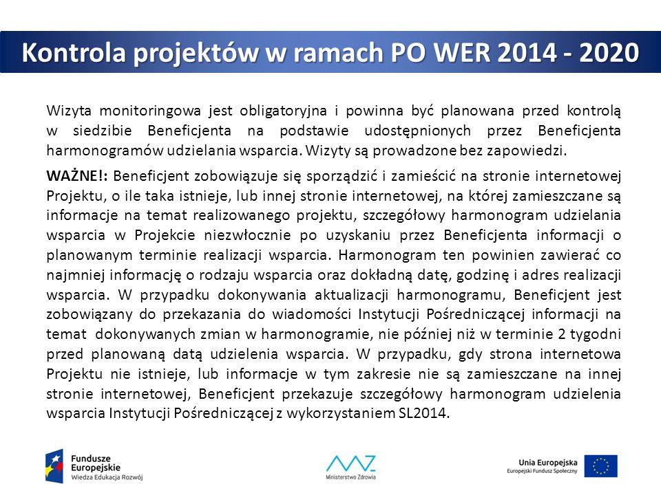 Kontrola projektów w ramach PO WER 2014 - 2020 Wizyta monitoringowa jest obligatoryjna i powinna być planowana przed kontrolą w siedzibie Beneficjenta