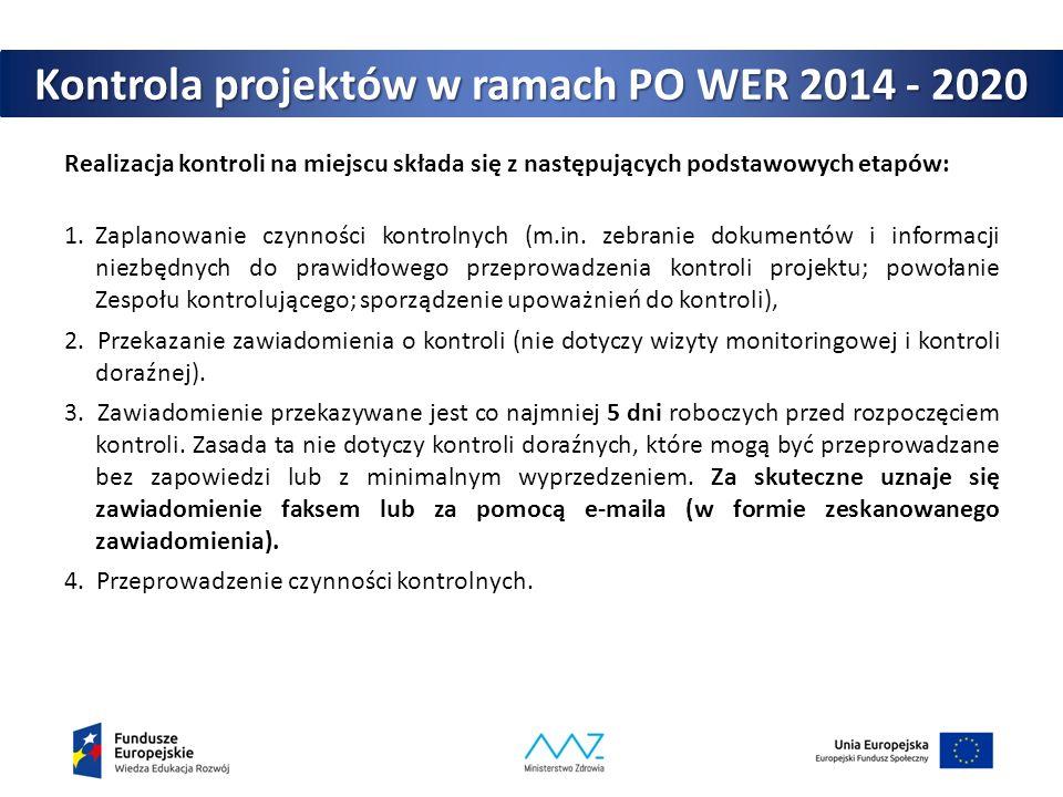 Kontrola projektów w ramach PO WER 2014 - 2020 Realizacja kontroli na miejscu składa się z następujących podstawowych etapów: 1.Zaplanowanie czynności kontrolnych (m.in.