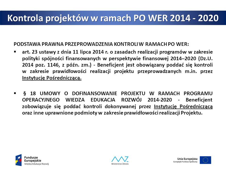 Kontrola projektów w ramach PO WER 2014 - 2020 PODSTAWA PRAWNA PRZEPROWADZENIA KONTROLI W RAMACH PO WER:  art. 23 ustawy z dnia 11 lipca 2014 r. o za