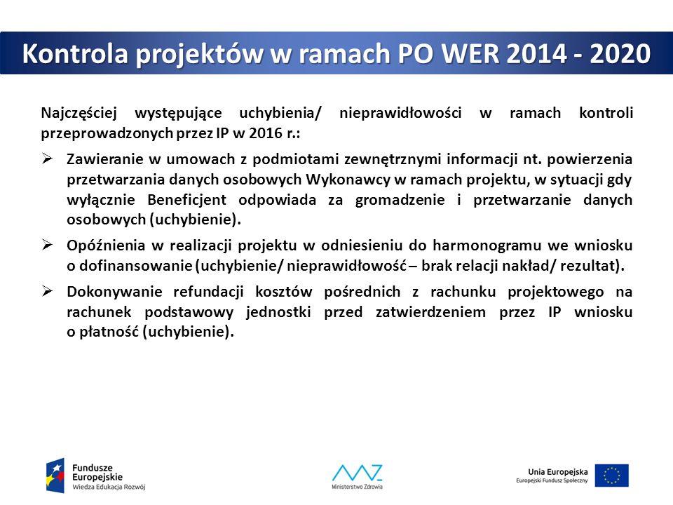 Kontrola projektów w ramach PO WER 2014 - 2020 Najczęściej występujące uchybienia/ nieprawidłowości w ramach kontroli przeprowadzonych przez IP w 2016