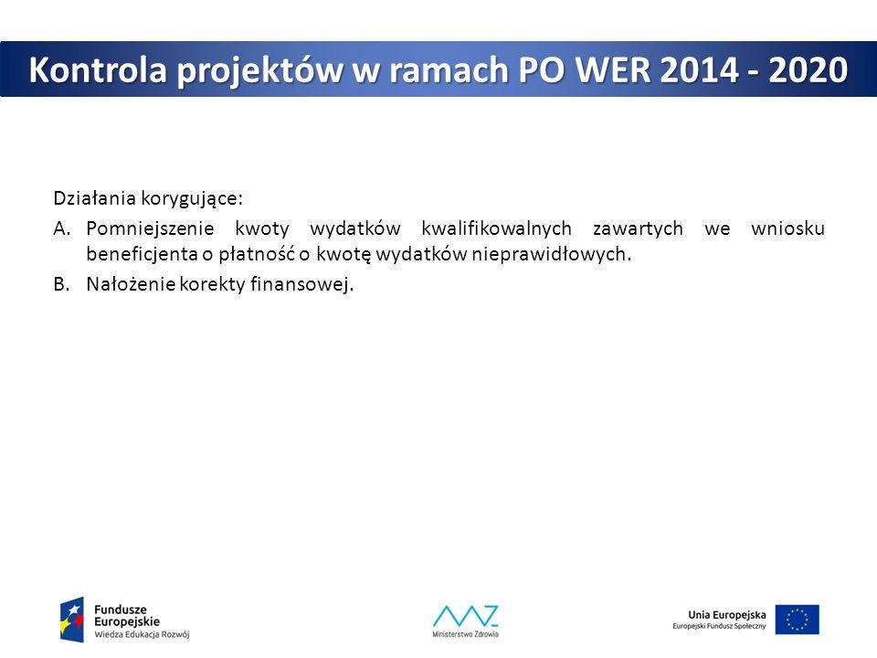 Kontrola projektów w ramach PO WER 2014 - 2020 Działania korygujące: A.Pomniejszenie kwoty wydatków kwalifikowalnych zawartych we wniosku beneficjenta o płatność o kwotę wydatków nieprawidłowych.