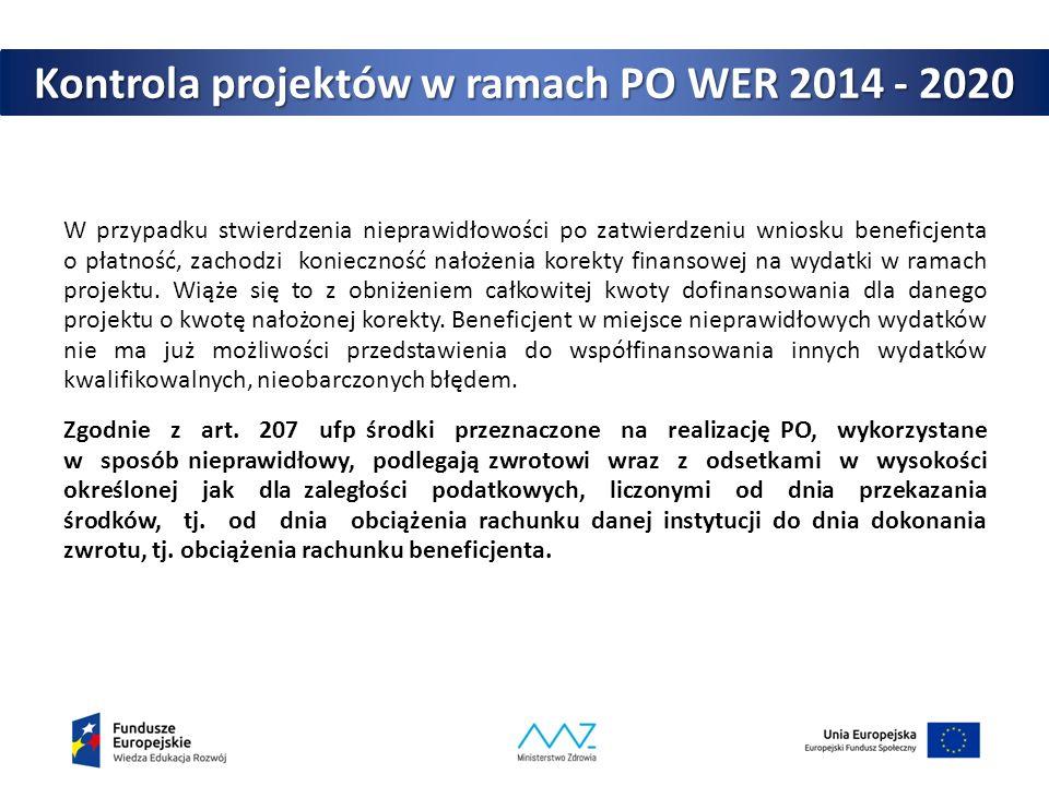 Kontrola projektów w ramach PO WER 2014 - 2020 W przypadku stwierdzenia nieprawidłowości po zatwierdzeniu wniosku beneficjenta o płatność, zachodzi ko