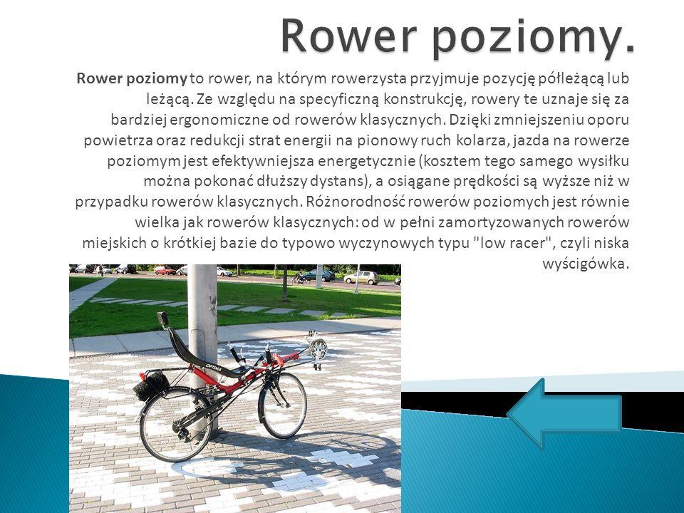 Rower poziomy to rower, na którym rowerzysta przyjmuje pozycję półleżącą lub leżącą. Ze względu na specyficzną konstrukcję, rowery te uznaje się za ba