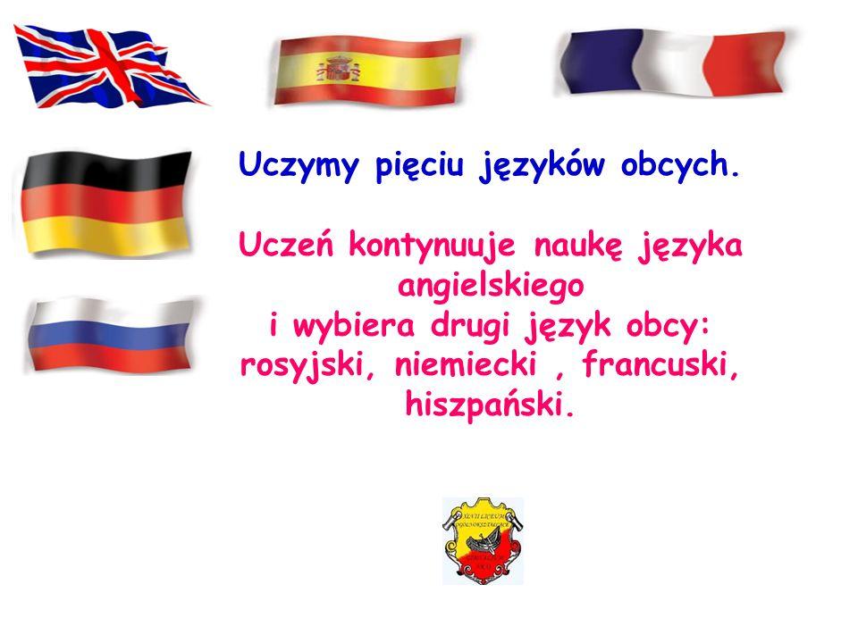 Uczymy pięciu języków obcych.
