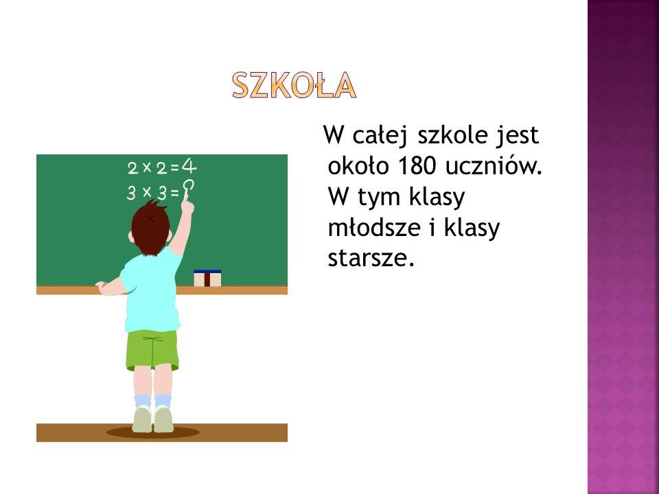 W całej szkole jest około 180 uczniów. W tym klasy młodsze i klasy starsze.