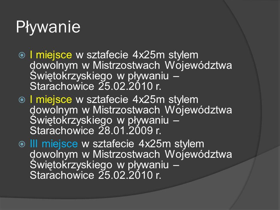 Pływanie  I miejsce w sztafecie 4x25m stylem dowolnym w Mistrzostwach Województwa Świętokrzyskiego w pływaniu – Starachowice 25.02.2010 r.