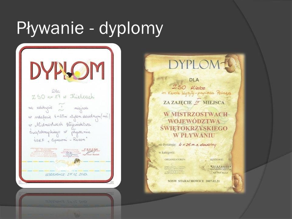 Pływanie - dyplomy