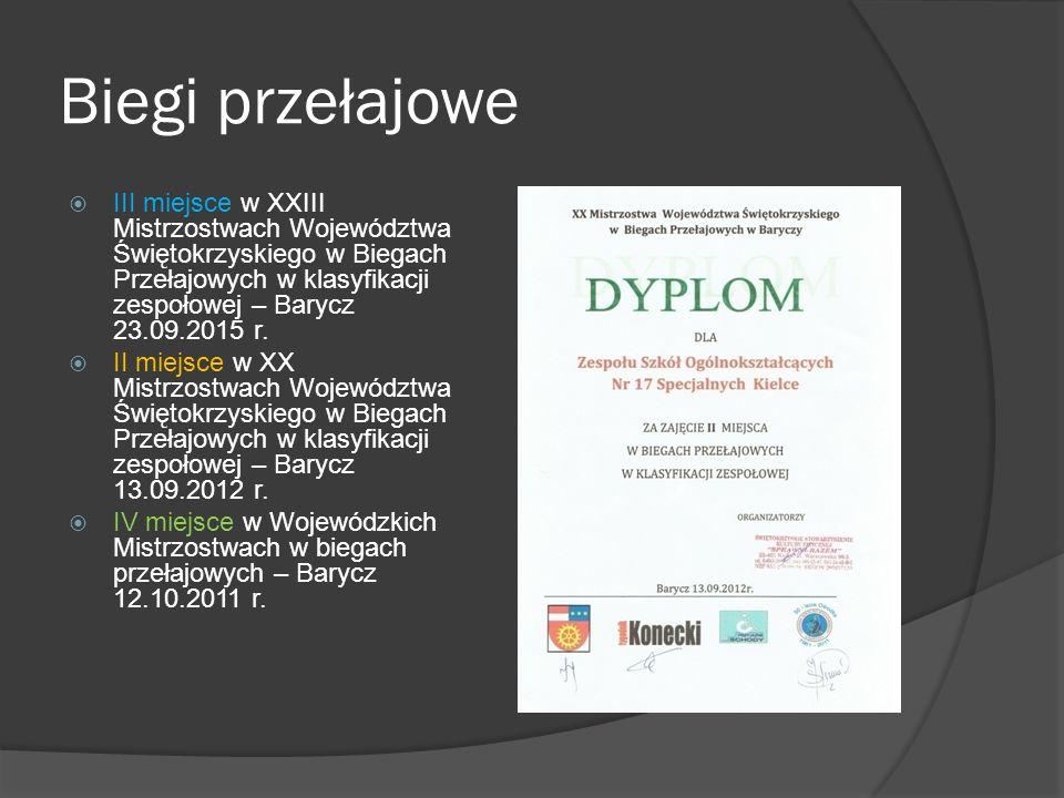 Biegi przełajowe  III miejsce w XXIII Mistrzostwach Województwa Świętokrzyskiego w Biegach Przełajowych w klasyfikacji zespołowej – Barycz 23.09.2015 r.