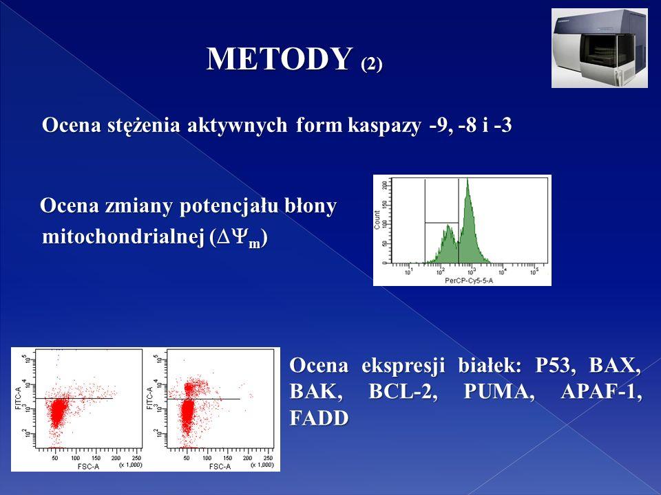 Ocena ekspresji białek: P53, BAX, BAK, BCL-2, PUMA, APAF-1, FADD METODY (2) Ocena stężenia aktywnych form kaspazy -9, -8 i -3 Ocena stężenia aktywnych form kaspazy -9, -8 i -3 Ocena zmiany potencjału błony Ocena zmiany potencjału błony mitochondrialnej (  m ) mitochondrialnej (  m )