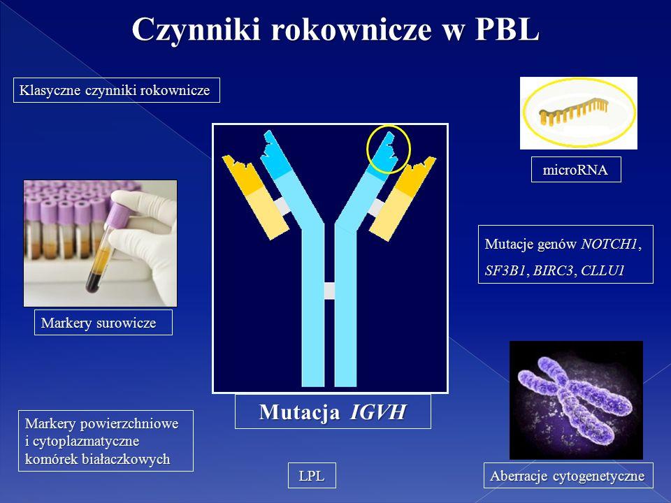 Czynniki rokownicze w PBL Klasyczne czynniki rokownicze Markery surowicze Aberracje cytogenetyczne Markery powierzchniowe i cytoplazmatyczne komórek białaczkowych Mutacja IGVH Mutacja IGVH Mutacje genów NOTCH1, SF3B1, BIRC3, CLLU1 LPL microRNA