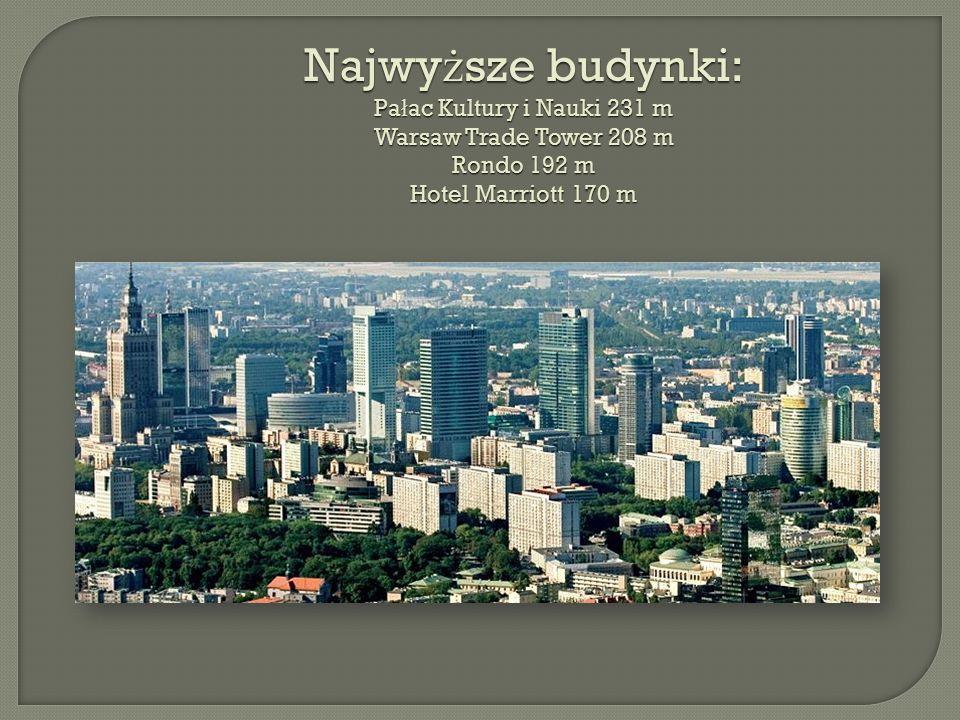 Najwy ż sze budynki: Pa ł ac Kultury i Nauki 231 m Warsaw Trade Tower 208 m Rondo 192 m Hotel Marriott 170 m