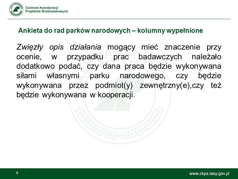 6 Ankieta do rad parków narodowych – kolumny wypełnione Zwięzły opis działania mogący mieć znaczenie przy ocenie, w przypadku prac badawczych należało