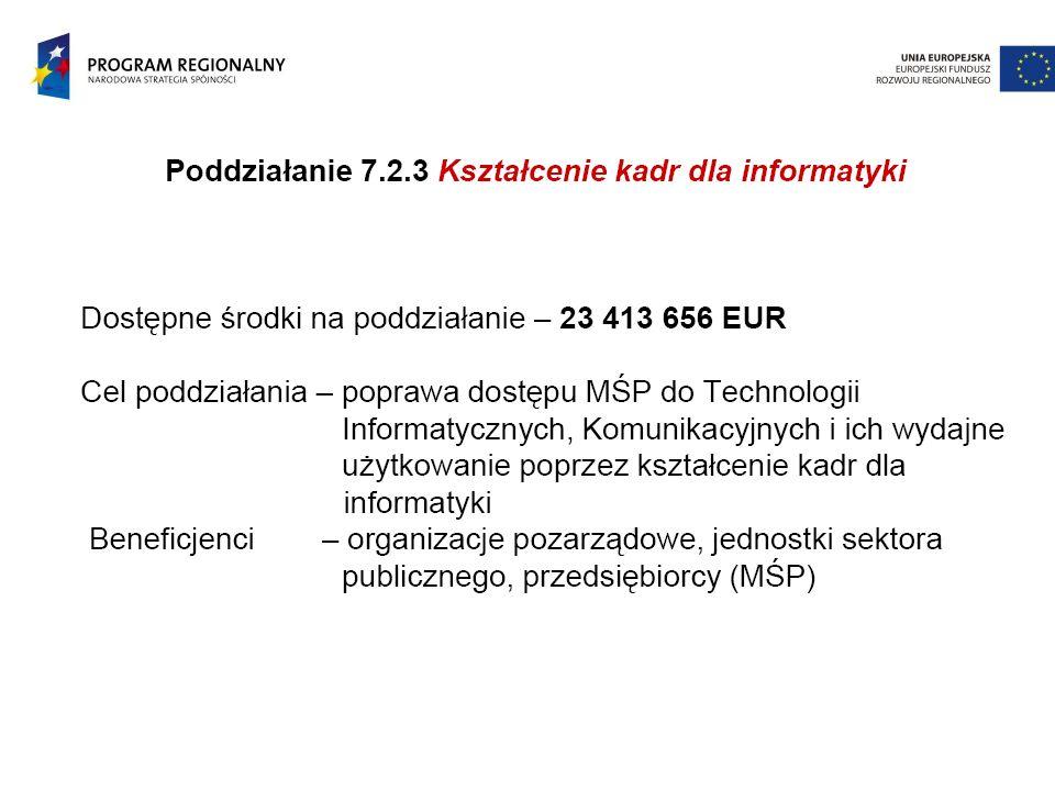 Propozycje sposobu wykorzystania środków w osi VII RPO  Poddziałanie 7.2.1 Usługi i aplikacje dla obywateli –10 listopad 2008  Sieć hurtowni danych na szczeblu poszczególnych urzędów zintegrowana z siecią baz danych przestrzennych – węzłów Krajowej Infrastruktury Informacji Przestrzennej  - wspólny projekt gmin, powiatów