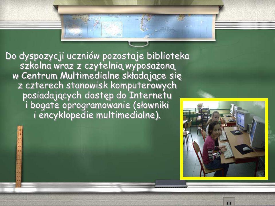 Do dyspozycji uczniów pozostaje biblioteka szkolna wraz z czytelnią wyposażoną w Centrum Multimedialne składające się z czterech stanowisk komputerowych posiadających dostęp do Internetu i bogate oprogramowanie (słowniki i encyklopedie multimedialne).