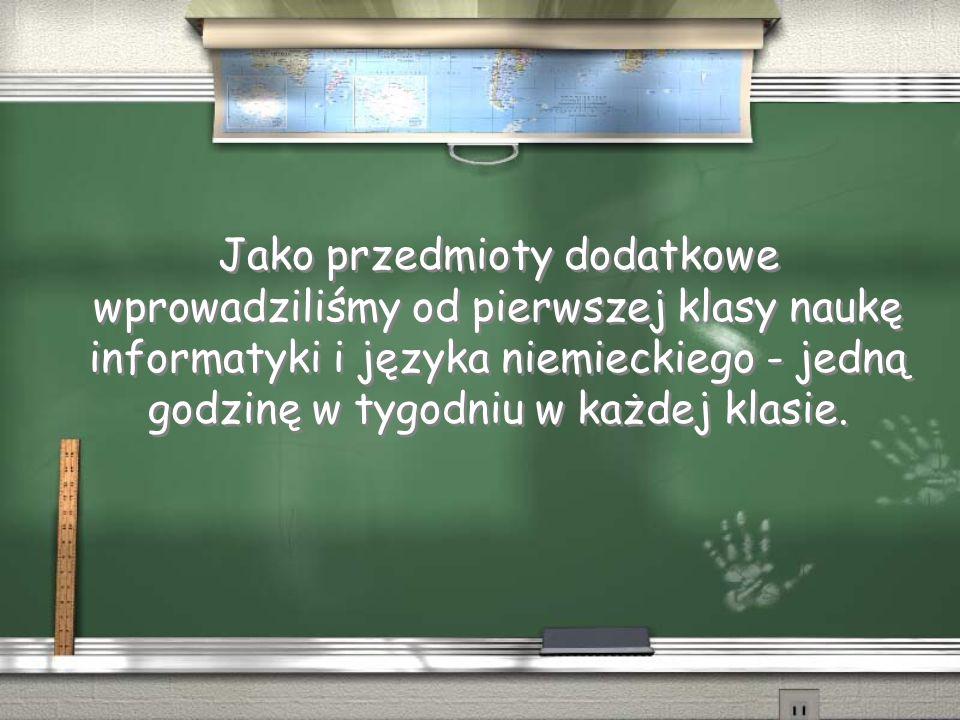 Jako przedmioty dodatkowe wprowadziliśmy od pierwszej klasy naukę informatyki i języka niemieckiego - jedną godzinę w tygodniu w każdej klasie.