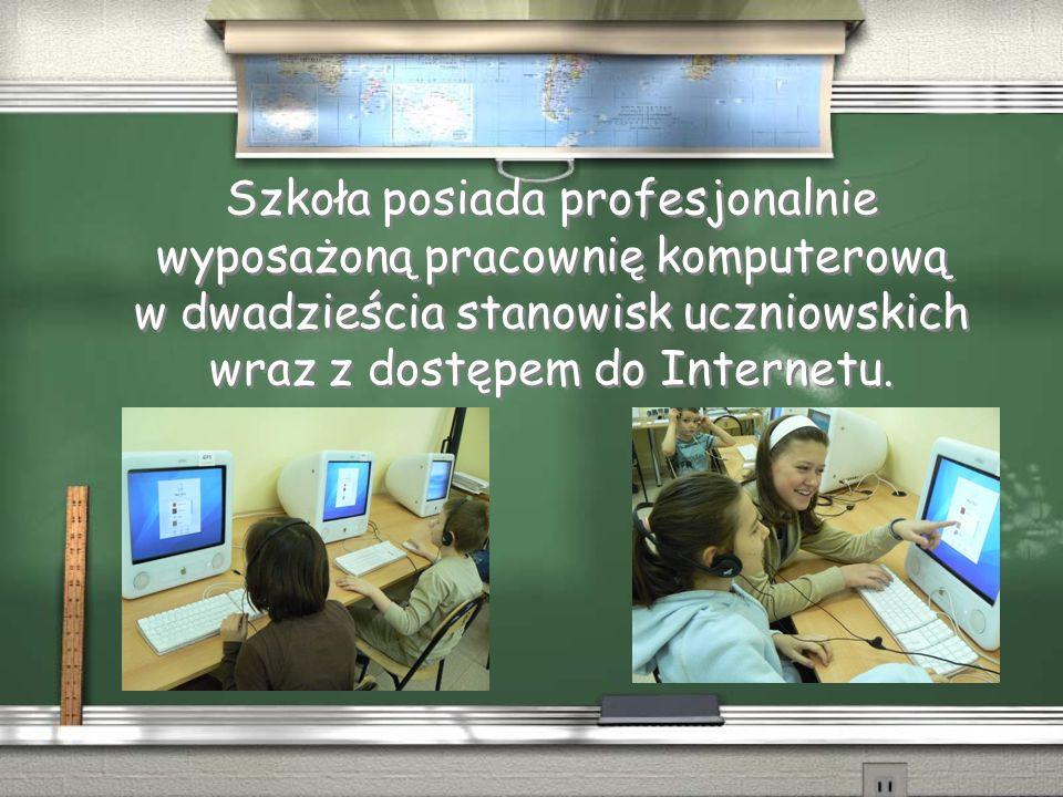Szkoła posiada profesjonalnie wyposażoną pracownię komputerową w dwadzieścia stanowisk uczniowskich wraz z dostępem do Internetu.