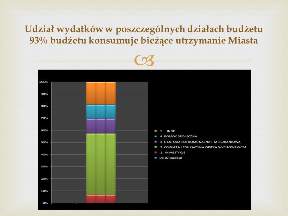  Udział wydatków w poszczególnych działach budżetu 93% budżetu konsumuje bieżące utrzymanie Miasta