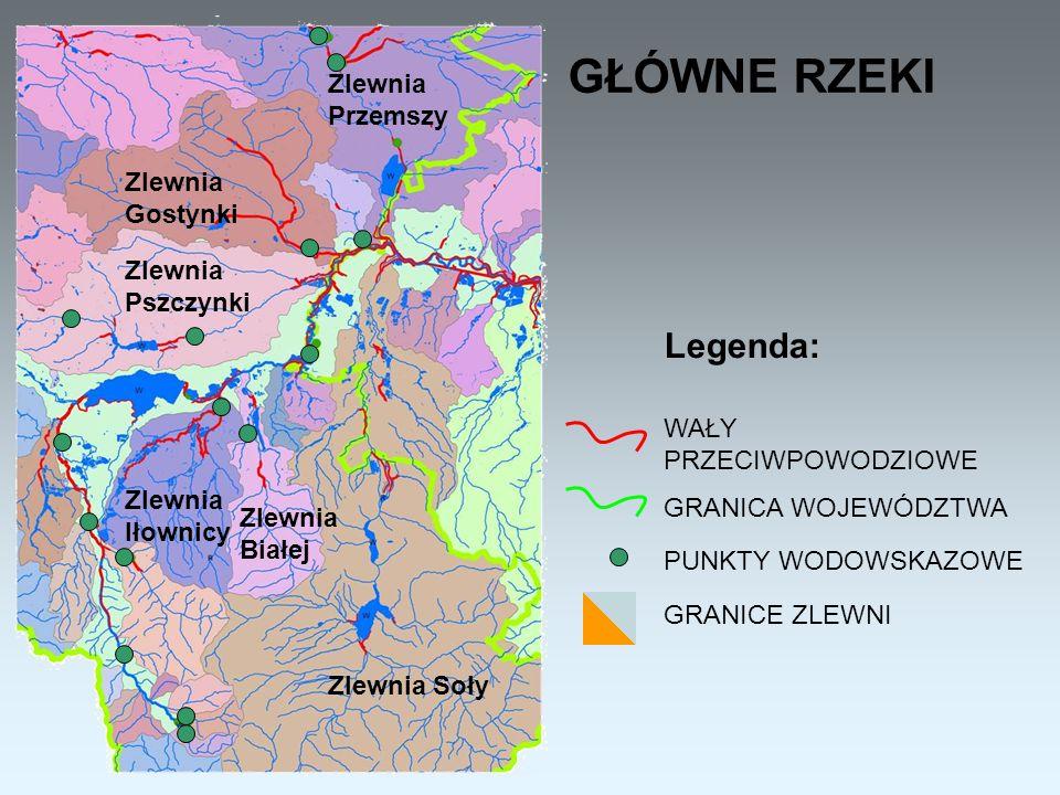 TERENY NAJBARDZIEJ ZAGROŻONE POWODZIĄ Legenda: Obszary najbardziej narażone na podtopienia oraz powodzie