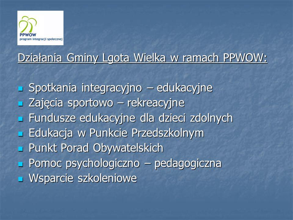 Działania Gminy Lgota Wielka w ramach PPWOW: Spotkania integracyjno – edukacyjne Spotkania integracyjno – edukacyjne Zajęcia sportowo – rekreacyjne Za