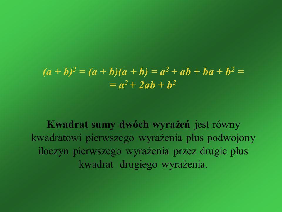 (a + b) 2 = (a + b)(a + b) = a 2 + ab + ba + b 2 = = a 2 + 2ab + b 2 Kwadrat sumy dwóch wyrażeń jest równy kwadratowi pierwszego wyrażenia plus podwoj