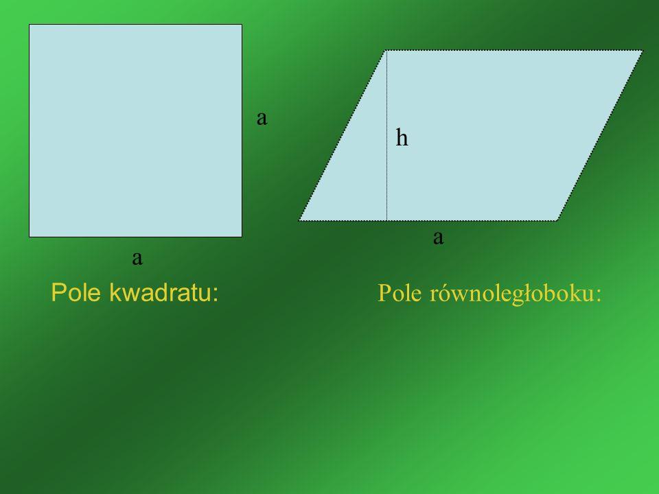 Pole kwadratu: Pole równoległoboku: a a a h