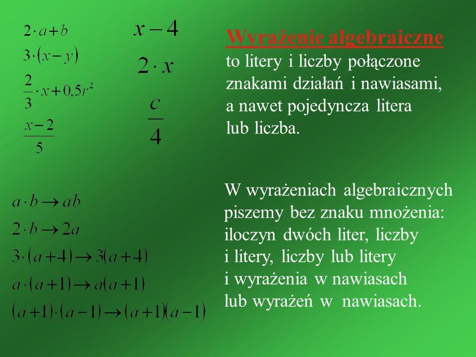 Najprostszymi wyrażeniami algebraicznymi są: liczby, np.: -3, 5, oraz litery, np.: a, w, z, m, x Wyrażenia możemy łączyć znakami działań arytmetycznych, tworząc bardziej złożone wyrażenia algebraiczne, np.: x + y - suma x i y a - 7 - różnica a i 7 s : t - iloraz s przez t W wyrażeniach bardziej skomplikowanych używamy nawiasów.