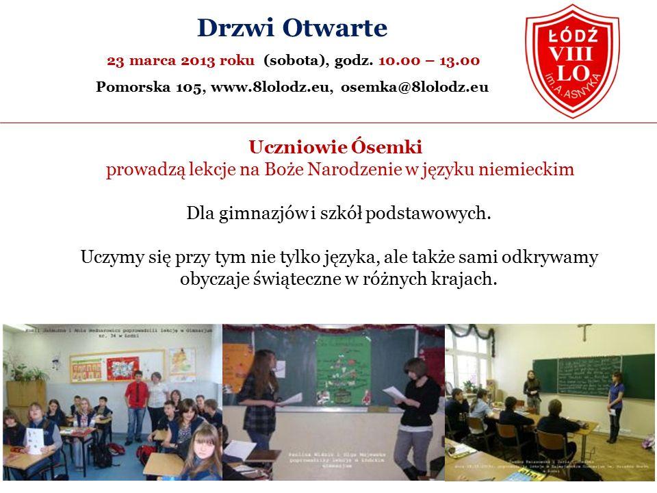Uczniowie Ósemki prowadzą lekcje na Boże Narodzenie w języku niemieckim Dla gimnazjów i szkół podstawowych.