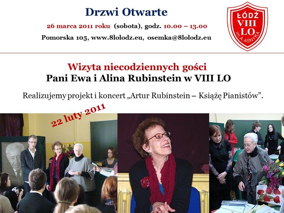 Wizyta niecodziennych gości Pani Ewa i Alina Rubinstein w VIII LO Drzwi Otwarte 26 marca 2011 roku (sobota), godz.
