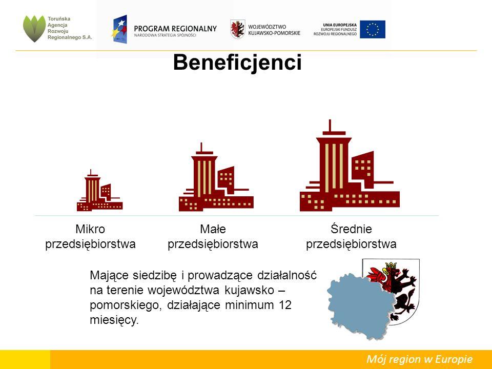 Mój region w Europie Beneficjenci Mikro przedsiębiorstwa Małe przedsiębiorstwa Średnie przedsiębiorstwa Mające siedzibę i prowadzące działalność na terenie województwa kujawsko – pomorskiego, działające minimum 12 miesięcy.