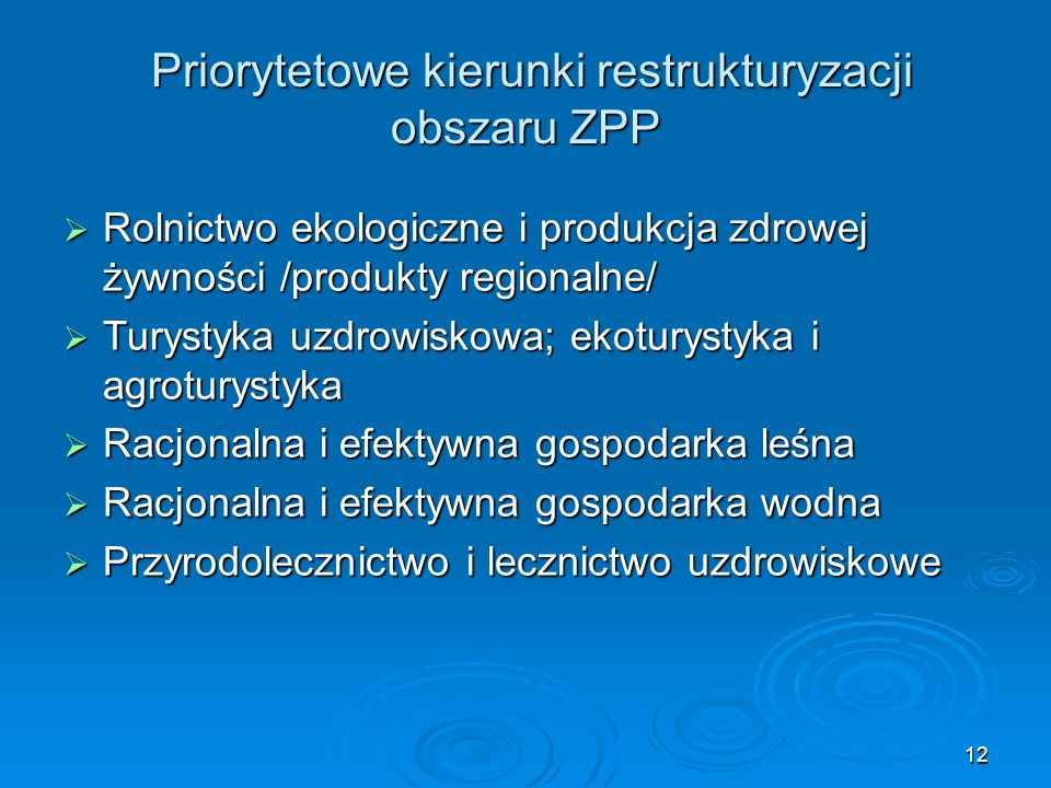 Priorytetowe kierunki restrukturyzacji obszaru ZPP Priorytetowe kierunki restrukturyzacji obszaru ZPP  Rolnictwo ekologiczne i produkcja zdrowej żywności /produkty regionalne/  Turystyka uzdrowiskowa; ekoturystyka i agroturystyka  Racjonalna i efektywna gospodarka leśna  Racjonalna i efektywna gospodarka wodna  Przyrodolecznictwo i lecznictwo uzdrowiskowe 12