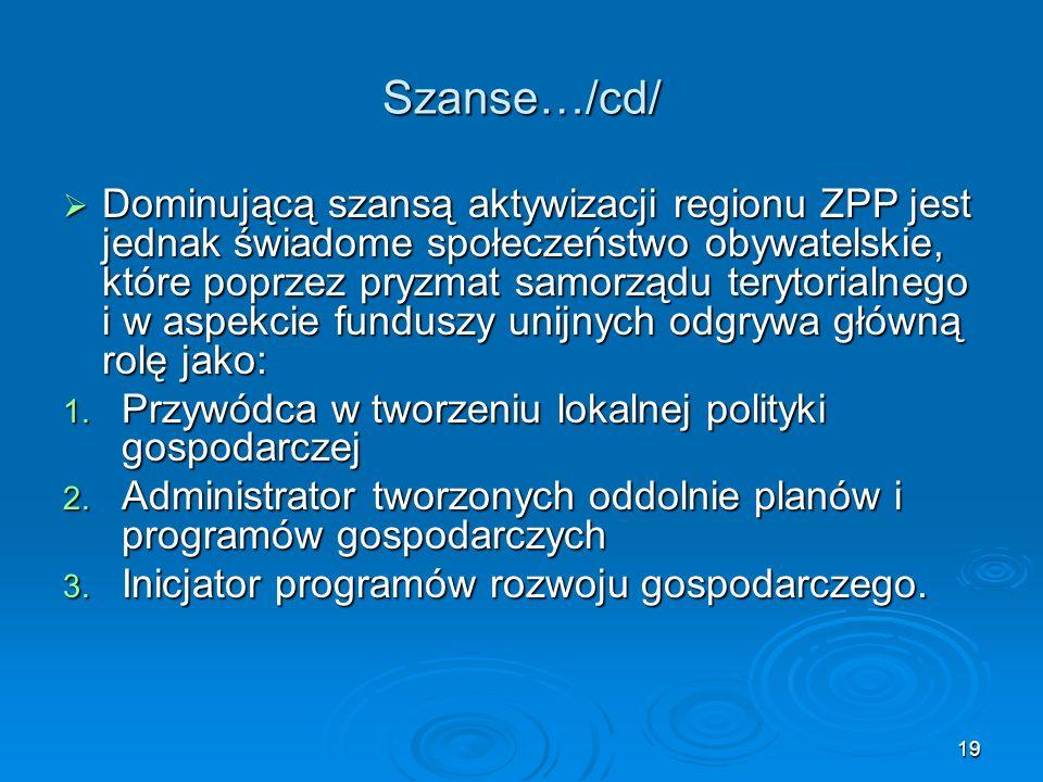19 Szanse…/cd/  Dominującą szansą aktywizacji regionu ZPP jest jednak świadome społeczeństwo obywatelskie, które poprzez pryzmat samorządu terytorialnego i w aspekcie funduszy unijnych odgrywa główną rolę jako: 1.