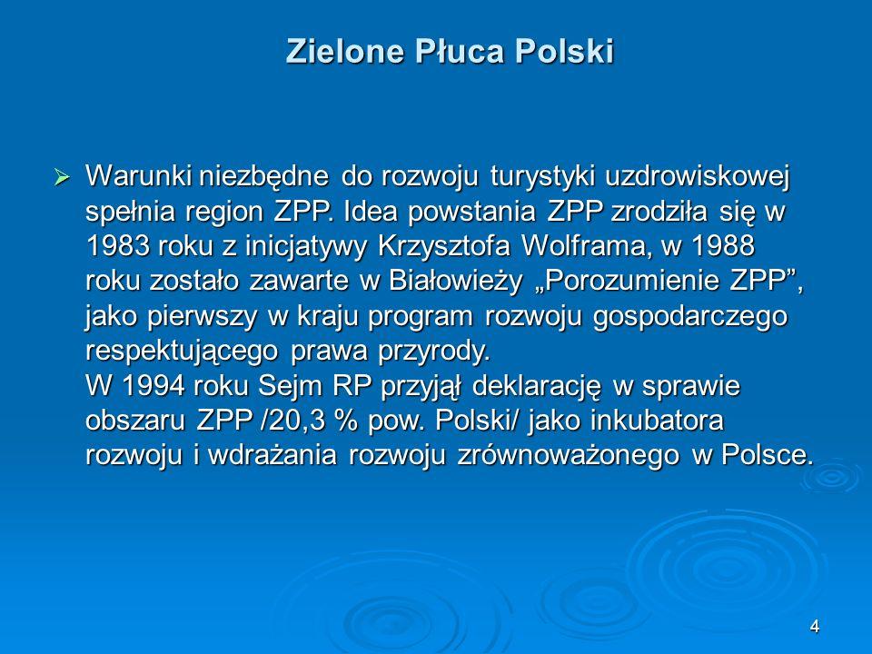 4 Zielone Płuca Polski  Warunki niezbędne do rozwoju turystyki uzdrowiskowej spełnia region ZPP.