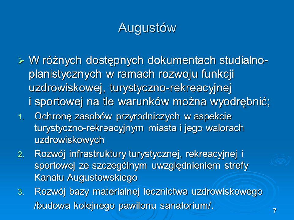 7 Augustów  W różnych dostępnych dokumentach studialno- planistycznychw ramach rozwoju funkcji uzdrowiskowej, turystyczno-rekreacyjnej i sportowej na tle warunków można wyodrębnić; 1.