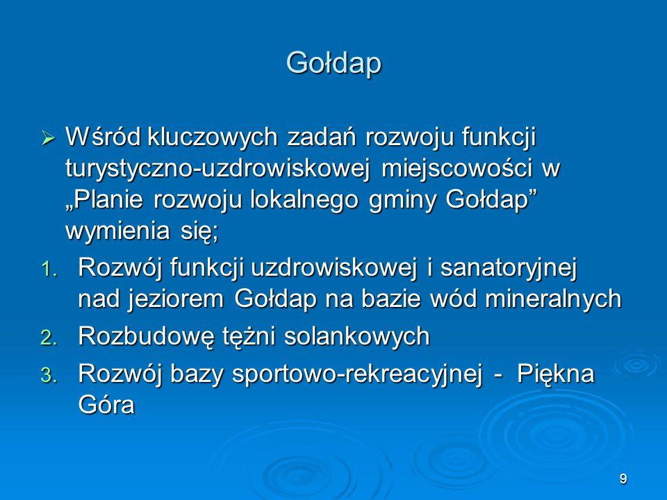 """9 Gołdap  Wśród kluczowych zadań rozwoju funkcji turystyczno-uzdrowiskowej miejscowości w """"Planie rozwoju lokalnego gminy Gołdap wymienia się; 1."""