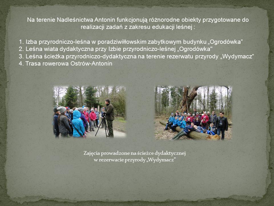 Na terenie Nadleśnictwa Antonin funkcjonują różnorodne obiekty przygotowane do realizacji zadań z zakresu edukacji leśnej : 1.