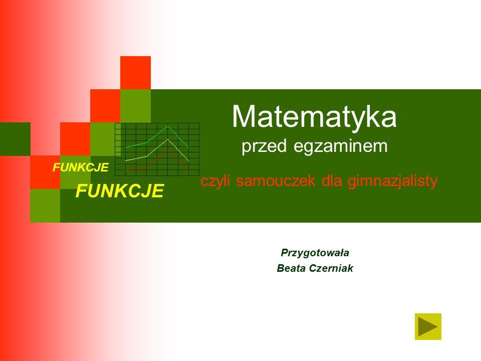 Matematyka przed egzaminem czyli samouczek dla gimnazjalisty Przygotowała Beata Czerniak FUNKCJE