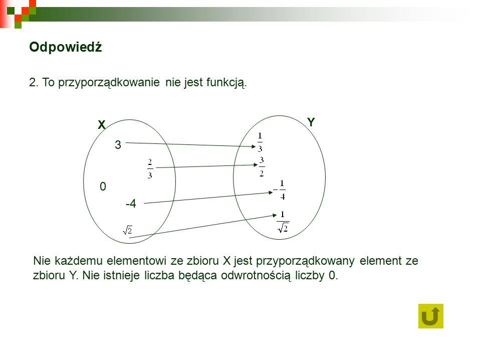 Odpowiedź 2. To przyporządkowanie nie jest funkcją.