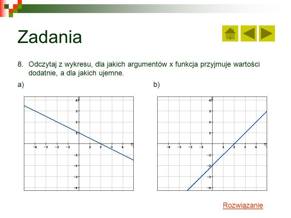 Zadania 8.Odczytaj z wykresu, dla jakich argumentów x funkcja przyjmuje wartości dodatnie, a dla jakich ujemne.