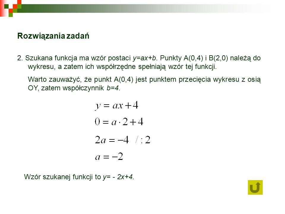 Rozwiązania zadań 2. Szukana funkcja ma wzór postaci y=ax+b.