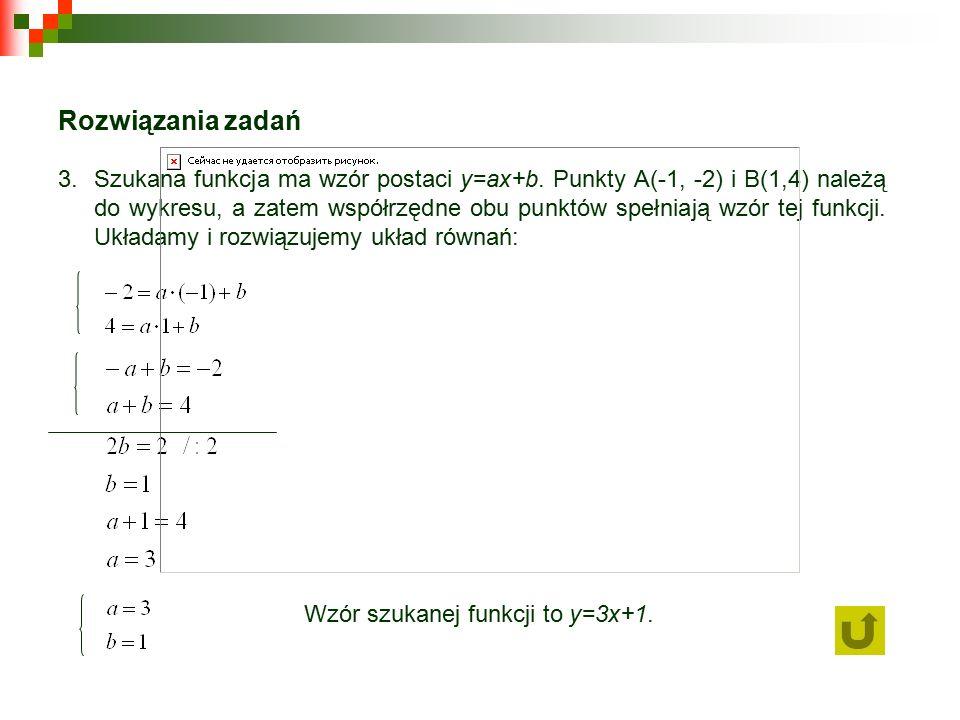 Rozwiązania zadań 3.Szukana funkcja ma wzór postaci y=ax+b.