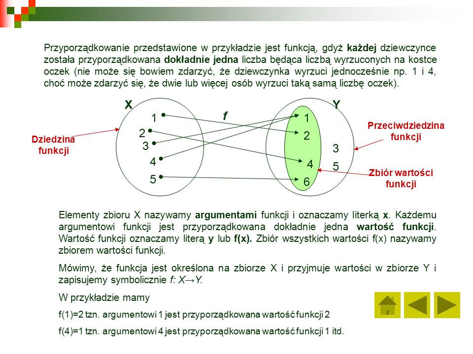Przyporządkowanie przedstawione w przykładzie jest funkcją, gdyż każdej dziewczynce została przyporządkowana dokładnie jedna liczba będąca liczbą wyrzuconych na kostce oczek (nie może się bowiem zdarzyć, że dziewczynka wyrzuci jednocześnie np.